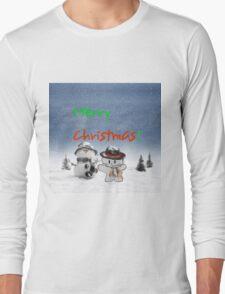Cat Copys his Snow Man Friend Long Sleeve T-Shirt