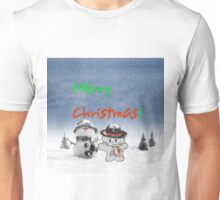 Cat Copys his Snow Man Friend Unisex T-Shirt