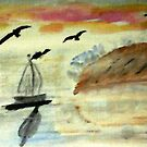 Early morning sail, watercolor by Anna  Lewis