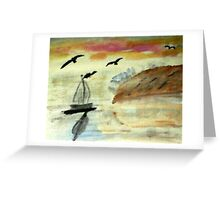 Early morning sail, watercolor Greeting Card