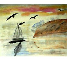 Early morning sail, watercolor Photographic Print