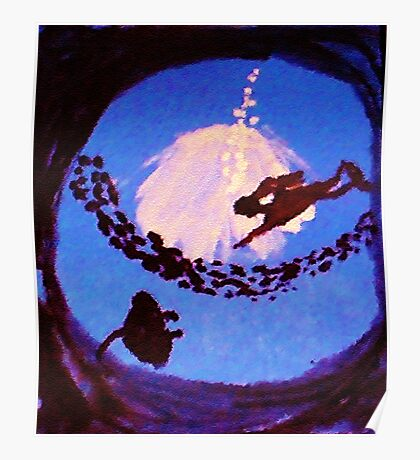 The diver, watercolor Poster