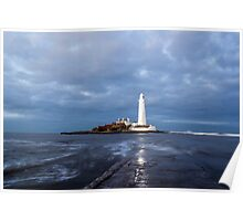 Dusk at St Mary's Lighthouse II Poster