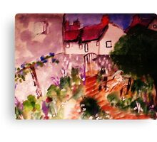 Mother and child in garden ( a Monet), watercolor Canvas Print