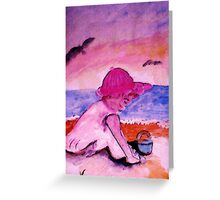 Playing on the beach, watercolor Greeting Card