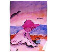 Playing on the beach, watercolor Poster