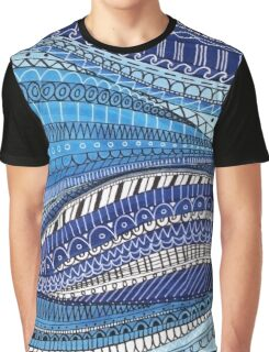 Blue and White Wavey Stripes Graphic T-Shirt