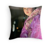 Girl in pink Throw Pillow