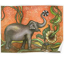 Elephant With Phonograph Poster