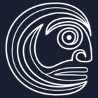 Tribal Face Spiral White by Achim Klein