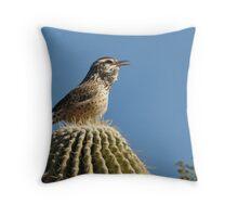 Cactus Wren Calling Throw Pillow