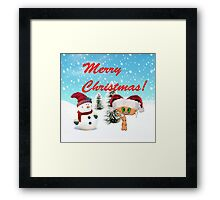 Happy Cat With A Snowman Framed Print