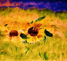 A field of sunflowers, watercolor by Anna  Lewis