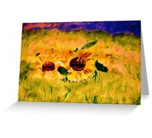 A field of sunflowers, watercolor Greeting Card