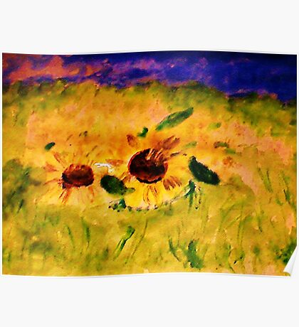 A field of sunflowers, watercolor Poster