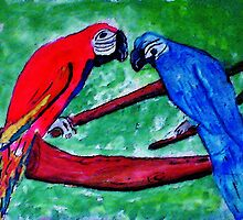 The Macaws are gathering, watercolor by Anna  Lewis, blind artist