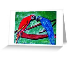 The Macaws are gathering, watercolor Greeting Card