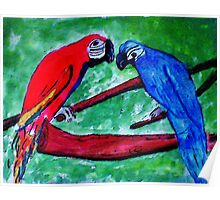 The Macaws are gathering, watercolor Poster