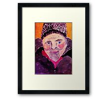 Old man with fur cap, watercolor Framed Print