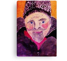 Old man with fur cap, watercolor Canvas Print