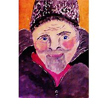Old man with fur cap, watercolor Photographic Print