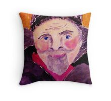 Old man with fur cap, watercolor Throw Pillow