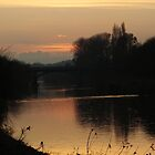 Sunset on the River Wye,Hereford. by Robert Lewis