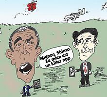 OBAMA et ABE drone caricature by Binary-Options
