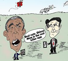 Obama and Abe drone caricature by Binary-Options