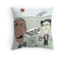 Obama and Abe drone caricature Throw Pillow