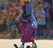 Clown in Drouin Ficifolia festival. by Bev Pascoe