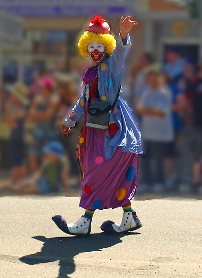 Clown in Drouin Ficifolia festival. by Bev Pascoe