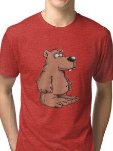 Funny brown bear  Tri-blend T-Shirt