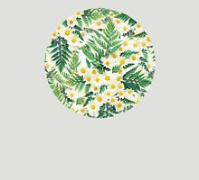 Textured Vintage Daisy and Fern Pattern T-Shirt