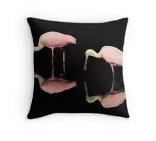 Spoon Bills feeding Throw Pillow