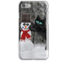 Cat Makes A SnowMan iPhone Case/Skin