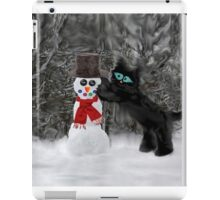 Cat Makes A SnowMan iPad Case/Skin