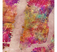 New York city map watercolor Photographic Print