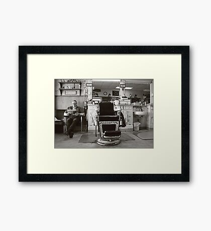 Small Town America ~The Barber Shop Framed Print