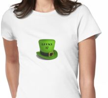 happy Saint Patrick's Day lucky 17 hat Womens Fitted T-Shirt