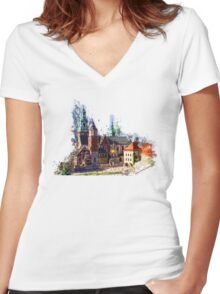 Wawel Castle Cracow Women's Fitted V-Neck T-Shirt
