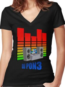 DJ PON3 Women's Fitted V-Neck T-Shirt