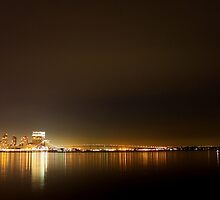 San Diego Skyline Night by Henrik Lehnerer