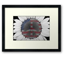 Sunflower Peace Out Sign Framed Print