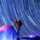 Electric Blue Star Trails Over Joshua Tree Desert Sky by Gavin Heffernan