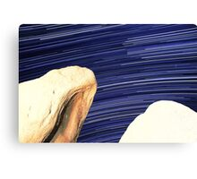 Desert Boulders With Galaxy Star Trails in Background Canvas Print