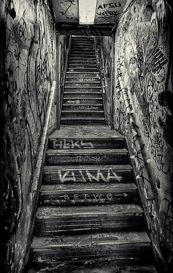Lower Manhattan Stairwell (Houston Street, New York City) by alan shapiro
