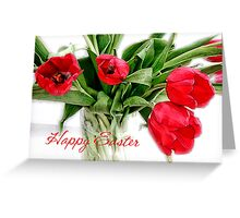 Red Tulips Happy Easter Card Greeting Card