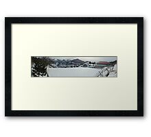 Snowy soccer field Framed Print