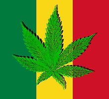 Rastafari Cannabis Leaf Flag by Bela-Manson